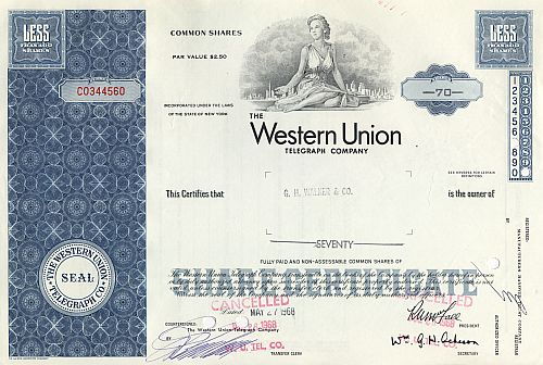 Western Union Telegraph Company historic stocks - old certificates