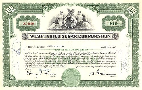 West Indies Sugar Corporation historische Wertpapiere - alte Aktien
