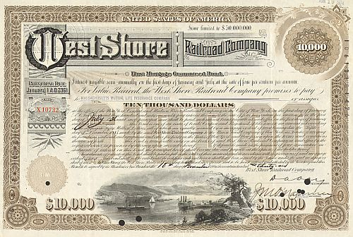 West Shore Railroad historic stocks - old certificates