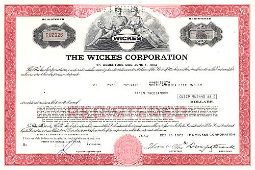 Wickes Corporation historic stocks - old certificates