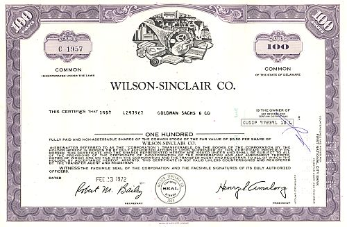Wilson-Sinclair Co. historic stocks - old certificates