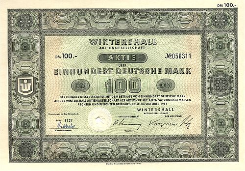Wintershall historic stocks - old certificates