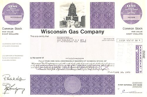 Wisconsin Gas Company historic stocks - old certificates