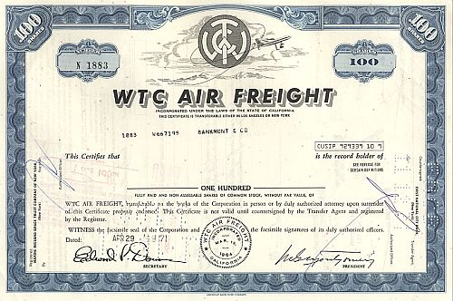 WTC Air Freight historic stocks - old certificates