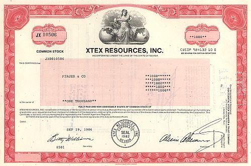 Xtex Resources, Inc. historic stocks - old certificates