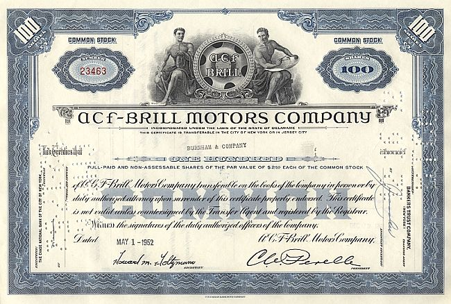 ACF-Brill Motors Company historic stocks - old certificates