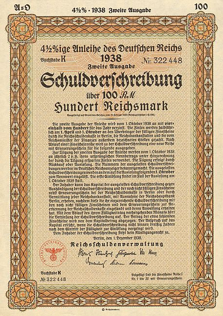 Anleihe des deutschen Reichs (100 Reichsmark)  historic stocks - old certificates