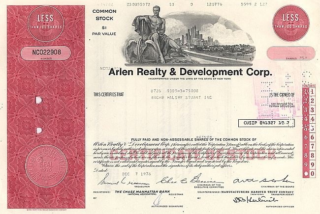 Arlen Realty & Development Corp. historic stocks - old certificates