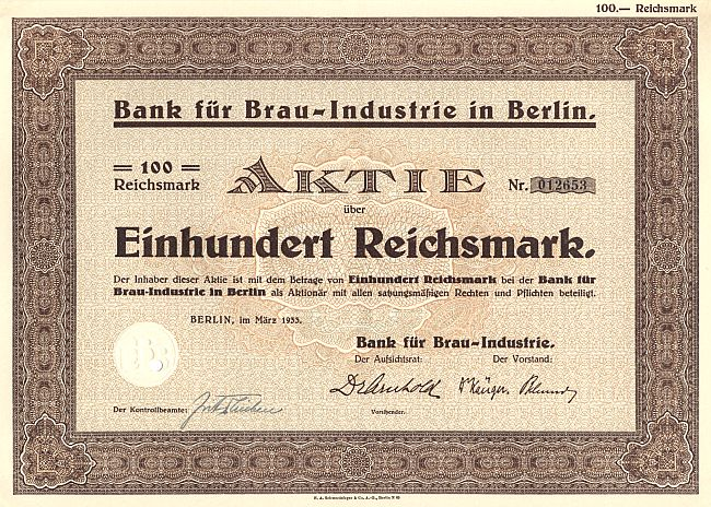Bank für Brau-Industrie historic stocks - old certificates