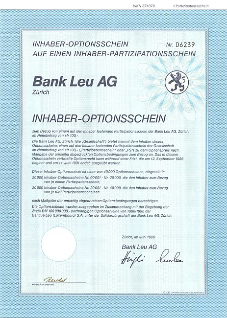 Bank Leu historic stocks - old certificates