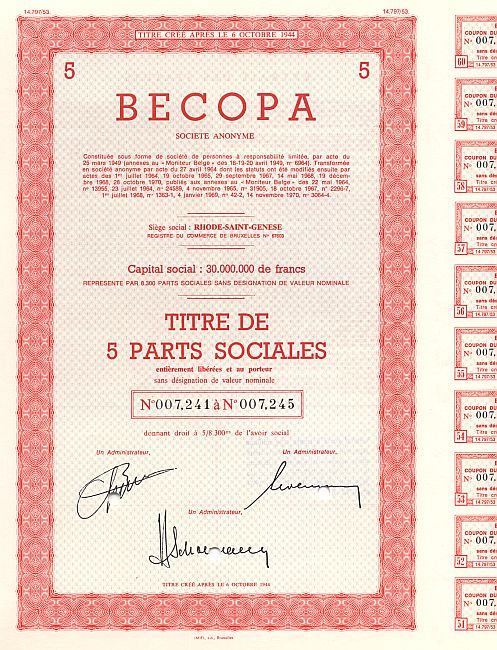 BECOPA  S.A. historic stocks - old certificates