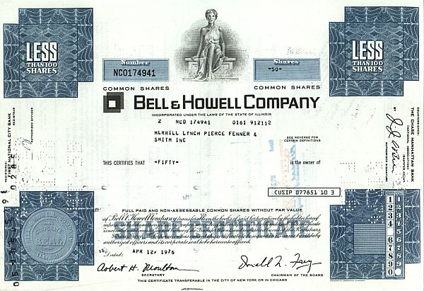 Bell & Howell Company historic stocks - old certificates