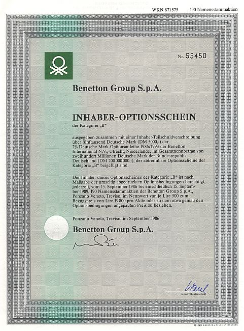 Benetton Group S.p.A. historic stocks - old certificates