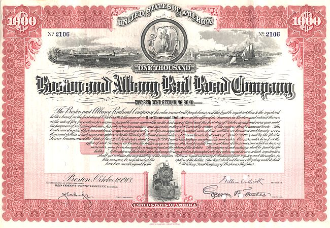 Boston and Albany Rail Road Company (Autograph Endicott) historic stocks - old certificates