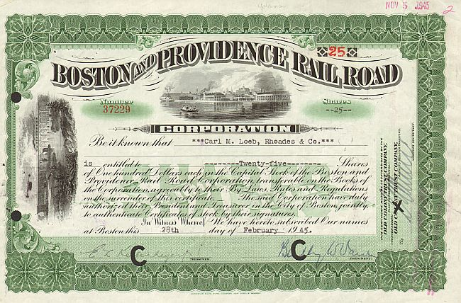 Boston and Providence Railroad Corporation historic stocks - old certificates