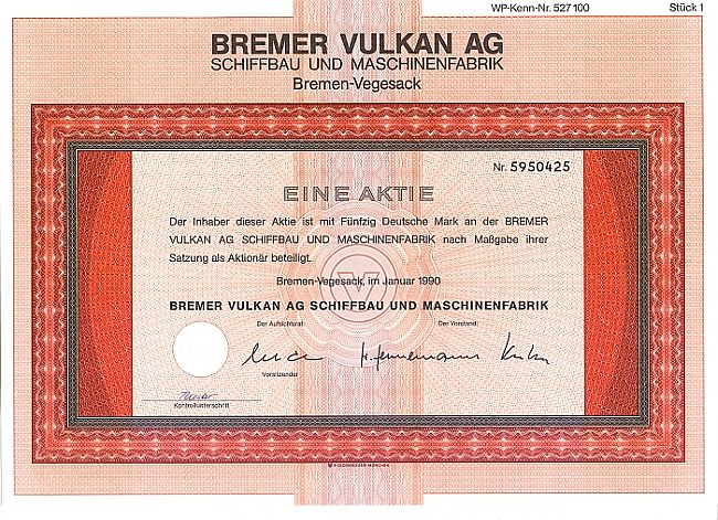 Bremer Vulkan AG (1990) historic stocks - old certificates