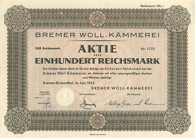Bremer Woll-Kämmerei historic stocks - old certificates