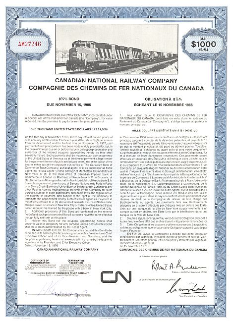 Canadian National Railway Company historic stocks - old certificates