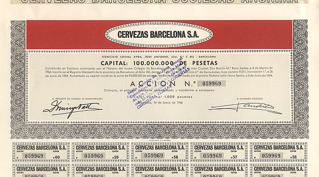 Cervezas Barcelona S.A. historic stocks - old certificates