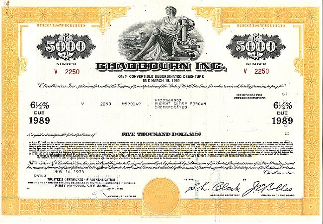 Chadbourn Inc. historic stocks - old certificates