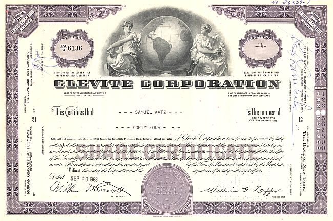Clevite Corporation historic stocks - old certificates