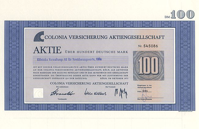 Colonia Versicherung Aktiengesellschaft historic stocks - old certificates