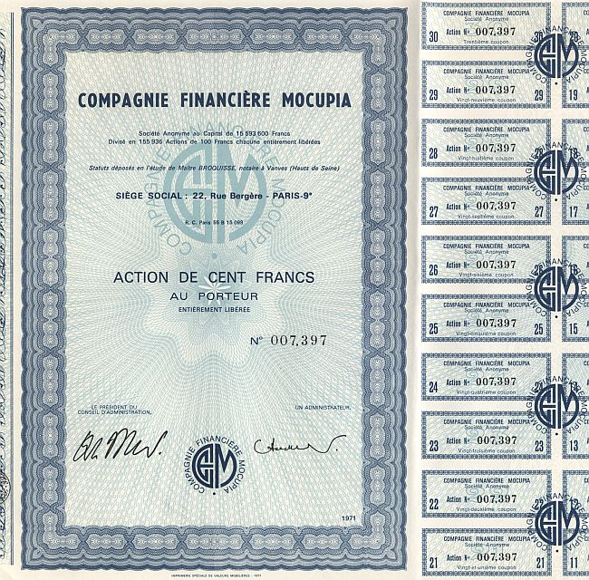 Compagnie Financiere Mocupia historic stocks - old certificates