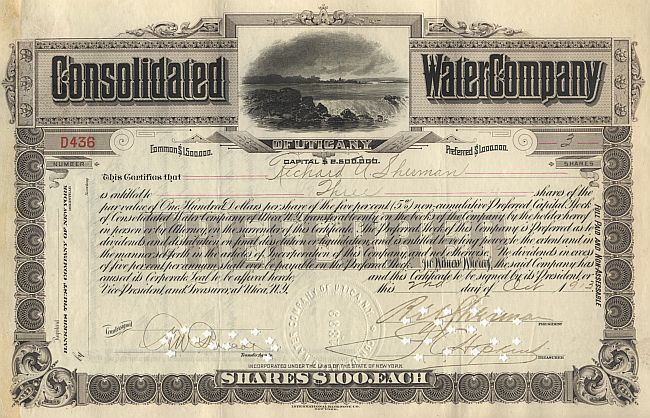 Consolidated Water Company of Utica N.Y historic stocks - old certificates