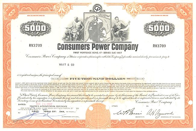 Consumers Power Company historic stocks - old certificates