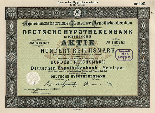 Deutsche Hypothekenbank in Meiningen historic stocks - old certificates