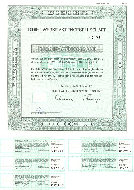 Didier historic stocks - old certificates