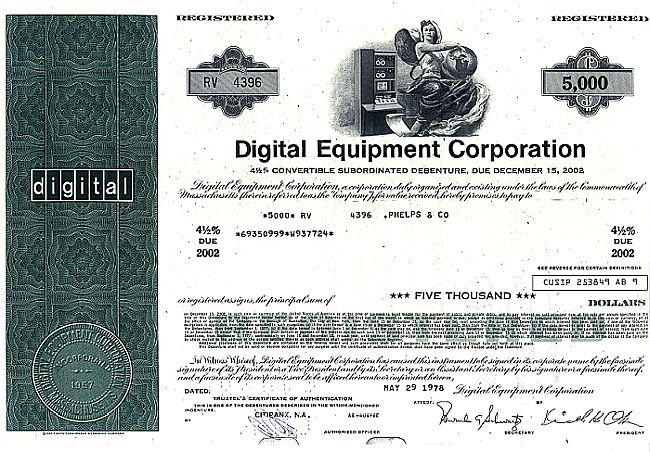 Digital Equipment Corporation historic stocks - old certificates