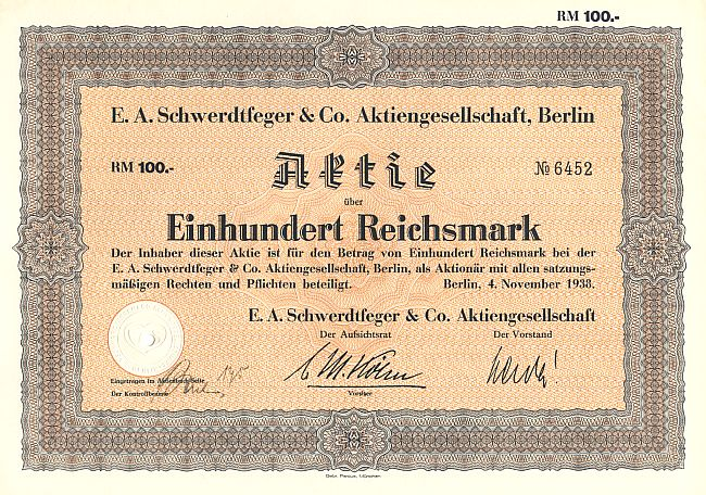 E.A. Schwerdtfeger & Co. Aktiengesellschaft, Berlin historic stocks - old certificates
