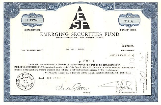Emerging Securities Fund historic stocks - old certificates
