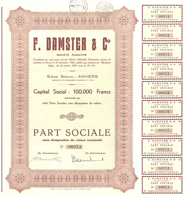 F. Damster & Co. historic stocks - old certificates
