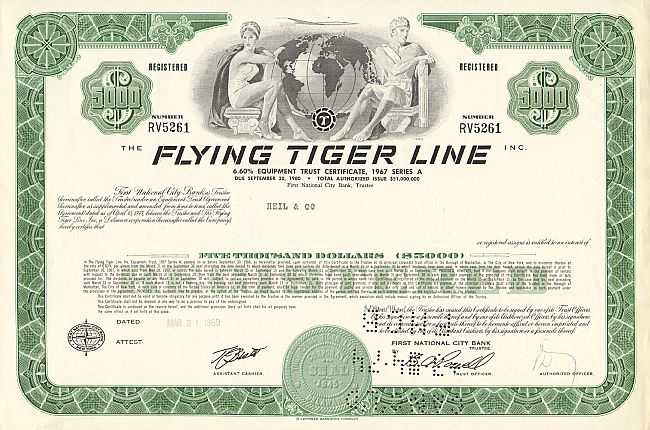Flying Tiger Line historic stocks - old certificates