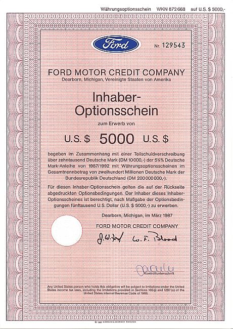 Ford Motor Credit Company historic stocks - old certificates