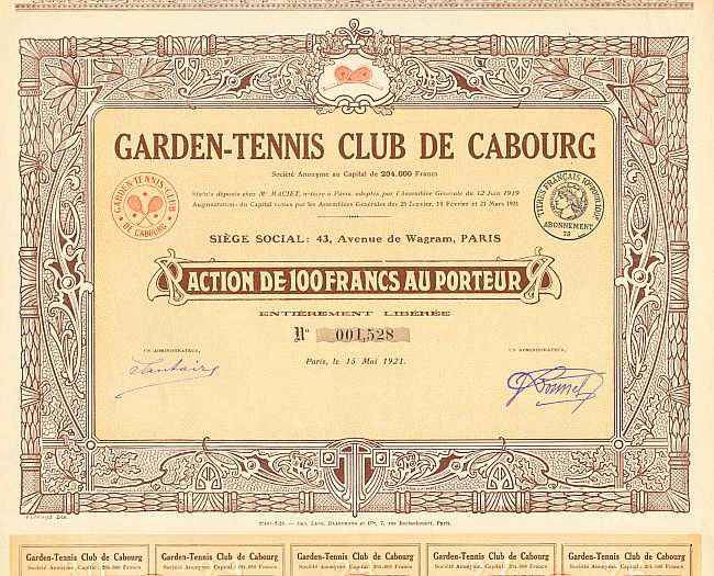 Garden-Tennis Club de Cabourg historic stocks - old certificates