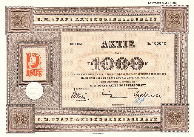 G.M.Pfaff Aktiengesellschaft (1968) historic stocks - old certificates