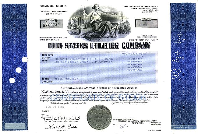 Gulf States Utilities Company 80er (neue Ausgabe) historic stocks - old certificates