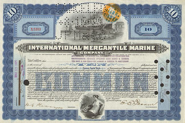 International Mercantile Marine  historic stocks - old certificates