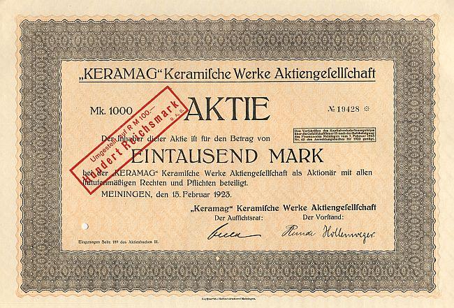 keramag 39 keramische werke aktiengesellschaft 1923 historische wertpapiere und alte aktien. Black Bedroom Furniture Sets. Home Design Ideas