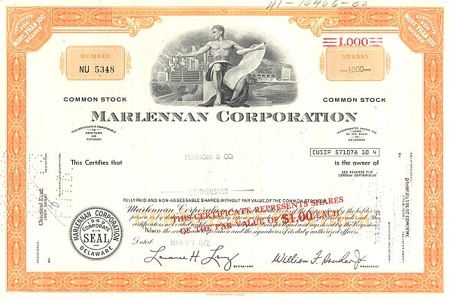 Marlennan Corporation historic stocks - old certificates