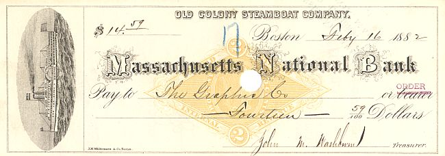 Massachusetts National Bank historic stocks - old certificates