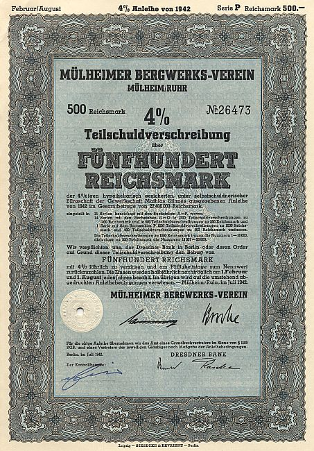 Mülheimer Bergwerks-Verein historic stocks - old certificates