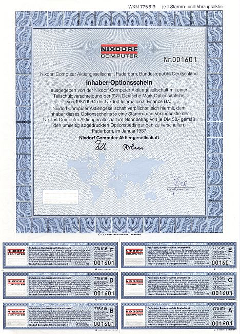 Nixdorf Computer historic stocks - old certificates