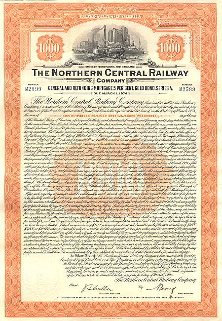 Northern Central Railway historic stocks - old certificates