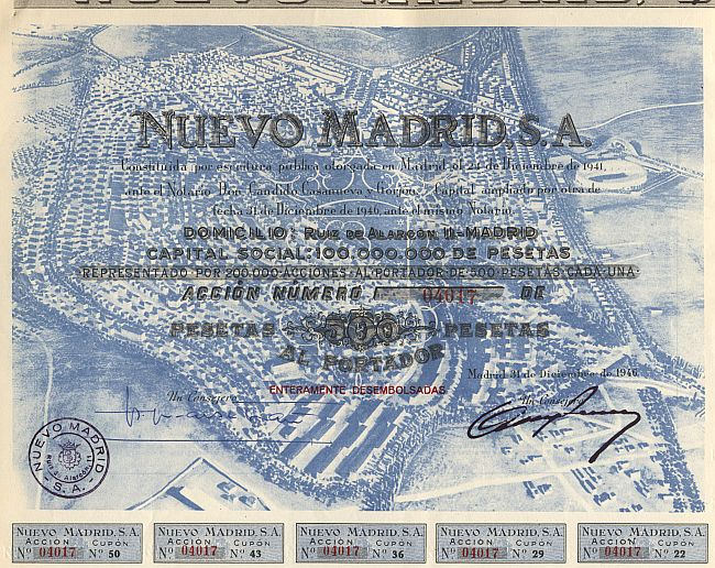 Nuevo Madrid, S.A. historic stocks - old certificates