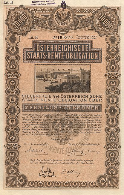 Österreichische Staats-Rente-Obligation historic stocks - old certificates