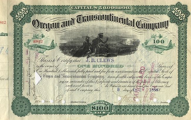 Oregon and Transcontinental Company (Autograph Clews) historic stocks - old certificates